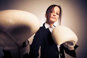 Boxing Businesswoman in Studio