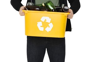 Man holding recyclable (PNG)
