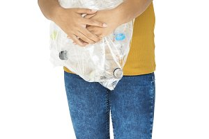 Girl holding recyclable (PNG)