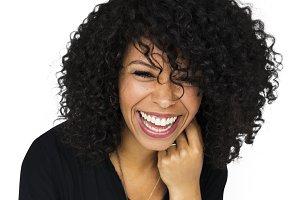 Woman happiness portrait (PNG)