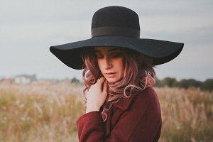 Beautiful Girl in a Black Hat