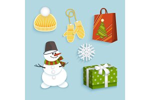 vector winter christmas symbols flat set
