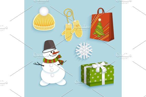 Vector Winter Christmas Symbols Flat Set
