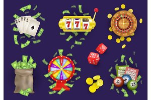 vector flat casino gambling symbols set