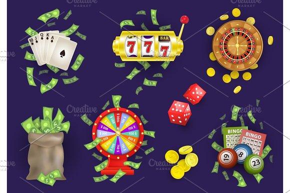 Vector Flat Casino Gambling Symbols Set