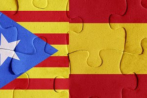 Spain and Catalonia flags