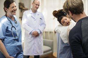 family at a hospital