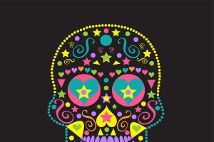 Sugar skull with hearts vector