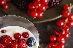 Yogurt with berries, blueberries