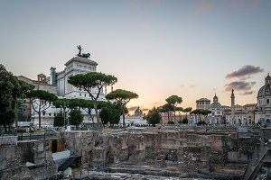 Forum of Trajan in Rome at sunset