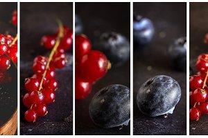 Organic raspberries. Collage