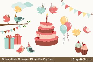 Birthday Birds Clipart