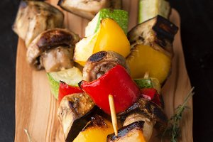 Roasted vegetables skewers