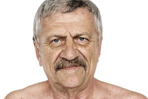 Senior adult man portrait (PNG)