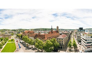 High Angle View of Stuttgart Koenigstrasse Panorama