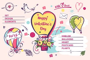 SALE!Valentine's day logos,postcard.