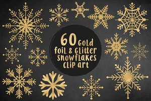 Gold snowflakes clip art