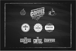 Coffee Labels on Chalkboard