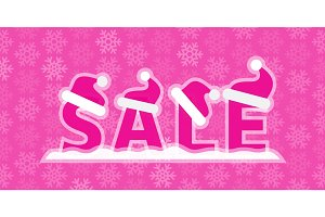 Christmas sale Illustration with snow and Santa Claus hats