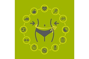 Weight loss illustration with health and fitness icons