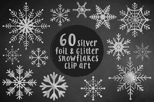 Silvers snowflakes clip art