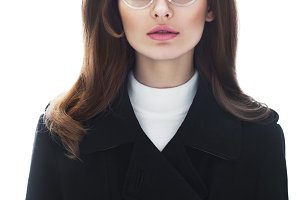 woman in retro style in glasses