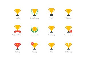 Trophy and awards colored icons