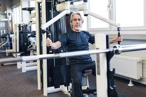 Senior Caucasian Man Working Out