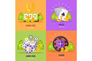 Set of Gambling Conceptual Vector Banners.