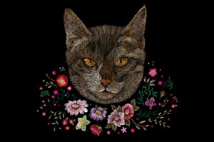 portrait of a cat. embroidery