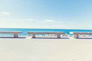 Stone Benches By The Beach In Sete, Southern France