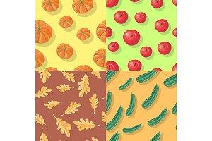 Autumn Seamless Patterns. Fall Endless Textures