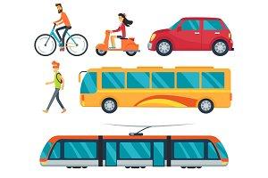 Different Types of Transport Vector Illustration
