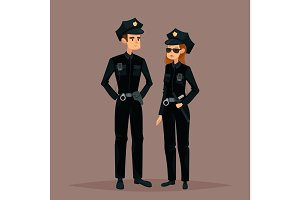 Cartoon woman and man at police job or work