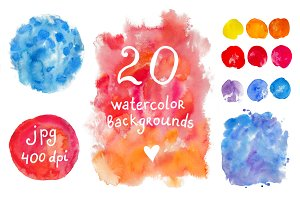 Big set of watercolor backgrounds