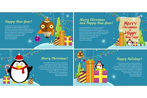 Set of Web Banners Winter Holiday Celebration.