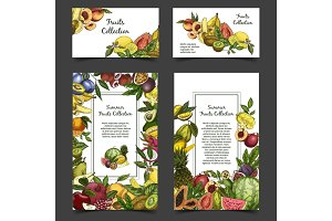 Banner or brochure with exotic tropical fruits.