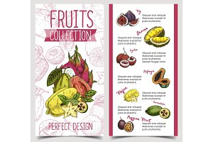 Banner with tropical and exotic summer fruits