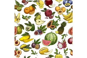 Fruits as seamless pattern background for wrapper