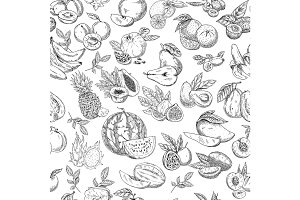 Seamless pattern background of sketched fruits