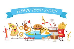 Funny Food Story Conceptual Banner. Childish Menu