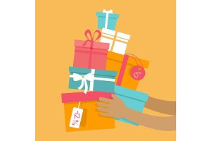 Holiday Sales Vector Concept in Flat Design