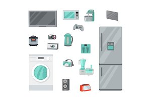 Home Appliances Vectors Set in Flat Design
