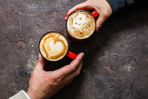 Morning coffee for couple in love
