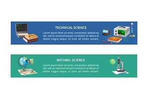 Technical and Natural Sciences Posters with Text
