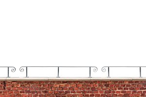 Brick wall and railing isolated