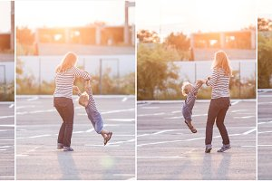 Mother with little daughter have fun