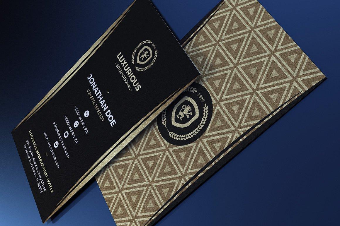 Gold & Black Vertical Business Card ~ Business Card Templates ...
