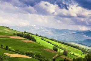 Fields in mountains