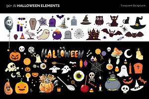 90+ Vector Halloween Elements